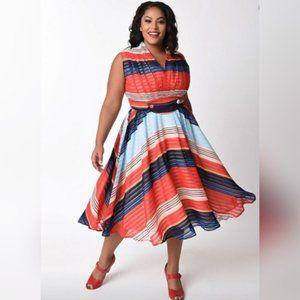 Unique Vintage striped chiffon swing-dress